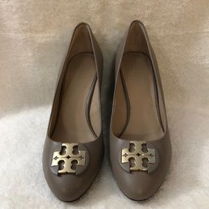 Tory Burch gray wedge shoes